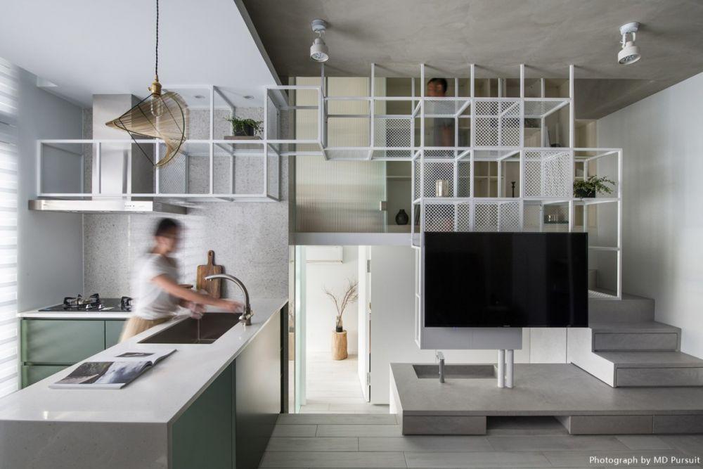 軸線延伸穿透13坪小宅,細膩鐵件X輕裸素色打造有氧居家
