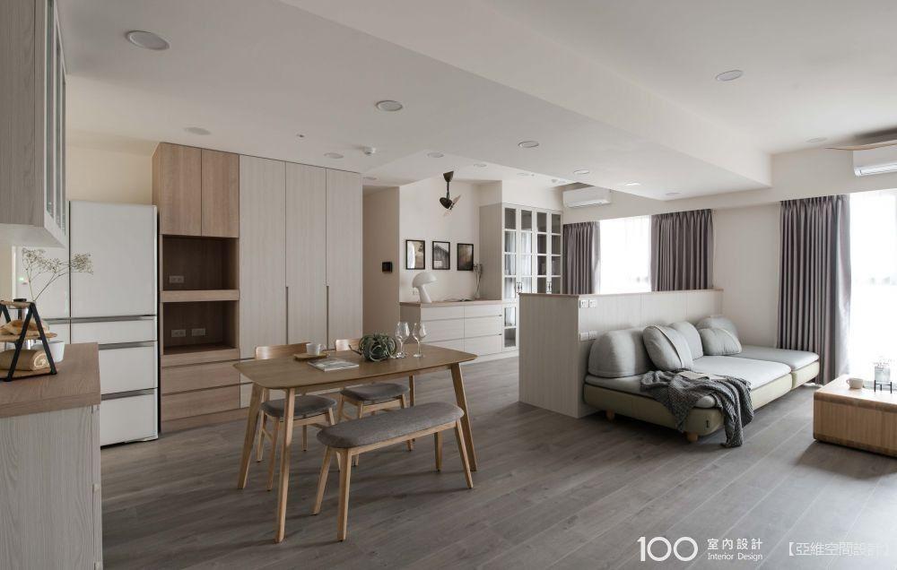 34坪木與白極簡無印宅,機能與收納兼具的3+1房質樸空間