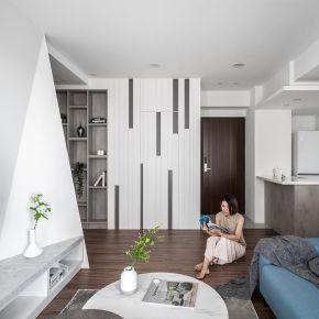 極簡的灰與白 圓一個設計夢 現代風 新成屋