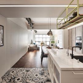 串聯客廳與餐廚的40坪清新宅