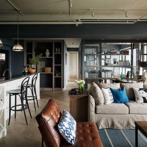 灰藍色的工業風居家宅 工業風 新成屋