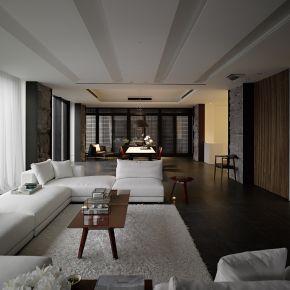 山林共鳴的現代別墅 現代風 新成屋
