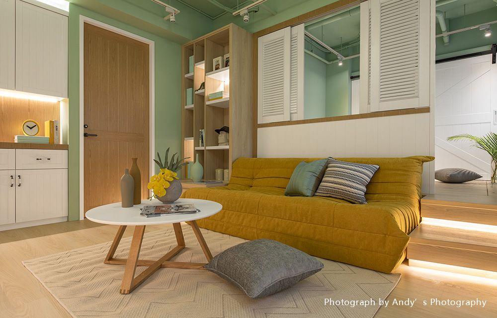 明亮色彩簡單動線,18坪展現舒爽美式鄉村宅