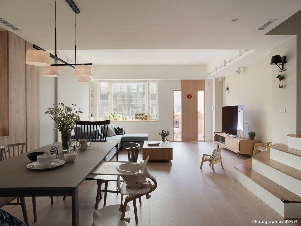 淺木色與灰白調和,打造貓與孩子都舒適的輕美式宅