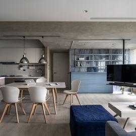 灰階藍調|室內30坪