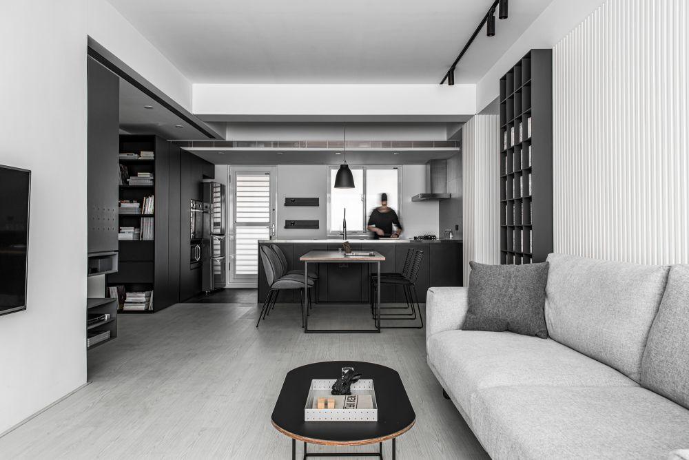 27坪單身宅,只用黑白灰佈局就可以俐落時尚